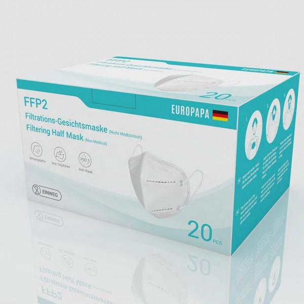 FFP2 Falt- Feinstaubmaske ohne Ventil, DEKRA getestet, CE zertifiziert